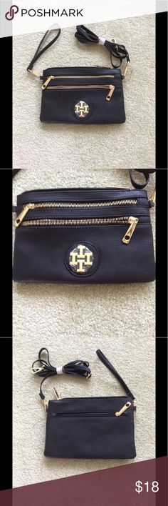 NWOT  Crossbody / Clutch / Wristlet Brand new , faux leather crossbody bag with gold trim. Strap can be removed for use as a wristlet or clutch. Has 2 zippered outer pockets on front, one on back and one interior. Measures approx 10 x 6. Will make a nice gift ! unknown Bags Crossbody Bags