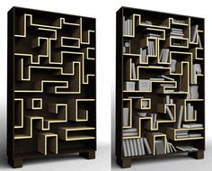 Books in a maze - I think Daniel would have fun designing and building something like this. :)