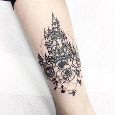 Znalezione obrazy dla zapytania disney castle tattoo