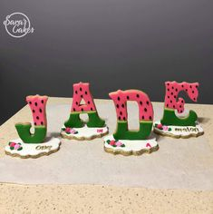 "Standing cookies ""one in a melon"" themed birthday party Alphabet Cake, Alphabet Cookies, One In A Melon, Royal Icing Cookies, Birthday Party Themes, Cookie Decorating, Letter, Number, Desserts"