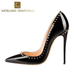 Rivets Shoes Woman High Heels Pointed Toe Sexy 12CM Heels Black Patent  Leather Ladies Shoes Fashion 48df4595854d
