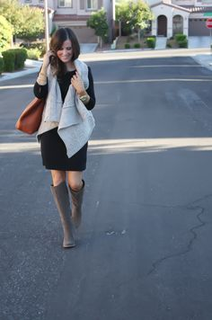 Black Long Sleeve Dress, Grey Cable Sweater Vest, Grey Suede Boots, Cognac Tote, Gold Watch, Old Navy, Loft, Joie, Michael Kors 19