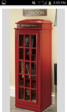 Kitchen cabinet made to look like old British phone box
