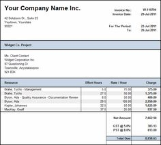 Itemized Billing Statement Template  Invoice