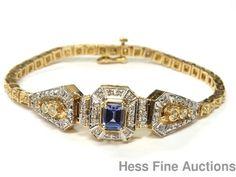Stunning 14k Gold Emerald Cut Tanzanite Fancy Color Diamond Statement Bracelet #Statement