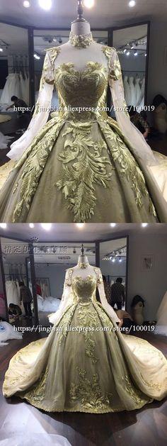 Wedding Dress Beautiful Gold Ball Gown Wedding Dress Lace High Neck Tulle Wedding Dress Vestidos De Noiva 2017