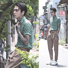 Get this look: http://lb.nu/look/7584998  More looks by IVAN Chang: http://lb.nu/ivan  Items in this look:  Tastemaker 達新美 Pants, Tastemaker 達新美 Shirt   #artistic #street #vintage