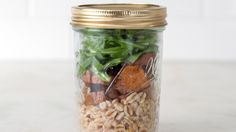 Think outside the lunch box and put your meal in a jar! Salads (and their siblings, such as rice bowls) fit perfectly when stacked, ingredient by ingredient, in a mason jar.
