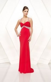Red Sheath/Column Straps Empire Long/Floor-length Sleeveless Crystal,Sequins Chiffon Sweep/Brush Train Backless Prom Dresses Dress
