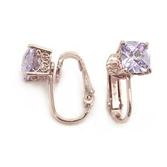 Rose Gold Plated 7mm Checkerboard Cushion Purple CZ Ornate Clip On Earrings *** Read more reviews of the product by visiting the link on the image.