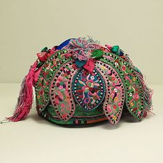 Old Antique Chinese Textile Miao Ethnic Hand Embroidered Child'S Hat / H6039