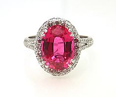 Red Spinel & Diamond Ring, 4.32 Carats, Oval, $13,790