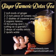Want to try this Ginger Turmeric Tea.  Turmeric is being talked a lot lately as an effective spice, derived from the root, for many medicinal purposes:  anti-inflammatory, digestive issues, and depression to name a few.