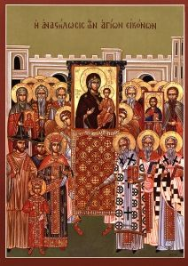 This is the icon for the Sunday of the Triumph of Orthodoxy which is commemorated every 1st Sunday of Lent in the Church. On that day the parishoners and priests hold a procession around their churches while holding icons of their patron saints. The triumph over iconoclasm.