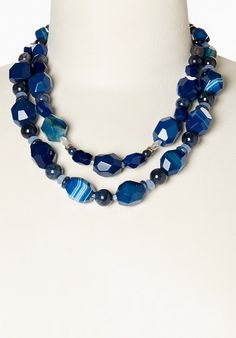Blue Double-Strand Beaded Necklace