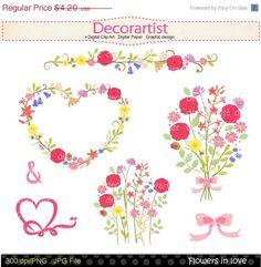ON SALE Flowers clip art, wedding clip art,frame clip art,flowers bouquet,engagement clip art, flower clip art,valentines day,INSTANT Downlo