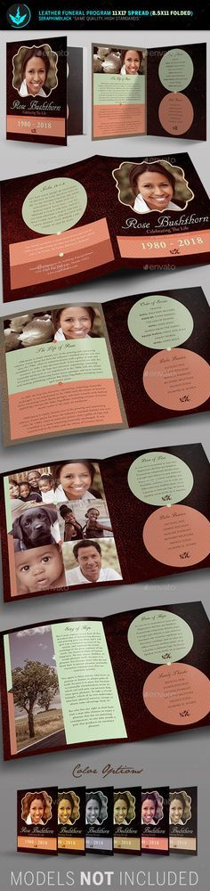 Leather Funeral Program Template 2 Need a unique funeral program booklet design with a vintage look for the deceased? Look no further, this file is easy to use and will give you a wonderful, clean presentation. Customize this flexible file in multiple ways to honor your loved one.