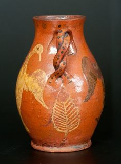 Extremely Rare and Important Redware Vase with Brushed - 3