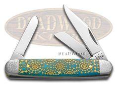 CASE XX Caribbean Blue Bone Kaleidoscope Medium Stockman Stainless Pocket Knife Knives
