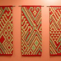 "Frustrations Fly Away by Deb McClintock    ""Done with split shed pickup technique with 3 wefts. Each weft was comprised of three fiber, silk and 2 wools dyed to complement each other and the motif. Please see Jane Evan's excellent webpage that details this technique.  janeevans.ca/Techniques.shtml"""