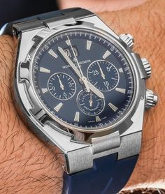 """Vacheron Constantin Overseas Chronograph Blue Watch Hands-On - by Ariel Adams - see & read more on aBlogtoWatch.com """"Today, I'd like to revisit the oft neglected Vacheron Constantin Overseas Chronograph Automatic as a fine daily wearing sports watch produced by one of the major Swiss prestige brands. One of the reasons for this is that later in the year, we will get some cool new dial colors of the current Vacheron Constantin Overseas Chronograph model…"""""""