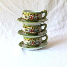 Vintage Majolica Tea Cups. Hand Painted Demitasse Cups.