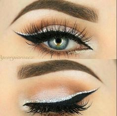 Eyeliner double black and silver, eyelashes More