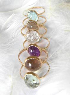 Custom Nena Stacker Ring with Recycled 14k Gold or Palladium, Citrine, Aquamarine, Smokey Quartz, You Choose Your Gemstone