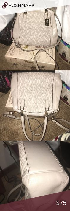 🌺coach Madison gathered leather purse🌺 Color is grey birch. Beautiful twisted leather on both sides. Very clean inside. There is a mark on the inner leather I tried to get out but I'm not sure how it got there. Some scratches on the inner magnetic closure. Slight discoloration on the right outside corner. Not to noticeable unless your really close. Behind front coach logo is a pocket. Perfect for keys/phone. Duster & strap included. Inbox me with question Coach Bags Satchels