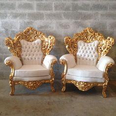 White Leather Chair Antique Italian by SittinPrettyByMyleen