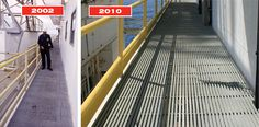 Ellen Offshore Platform 2002 and 2010 Strongwell's Grating After 30+ Years in Offshore Environment