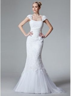 Mermaid Sweetheart Sweep Train Satin Tulle Wedding Dress With Lace Beadwork (002000438)