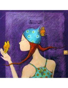 """Carte carrée Gaëlle Boissonnard """"Le papillon sur le chapeau"""""""