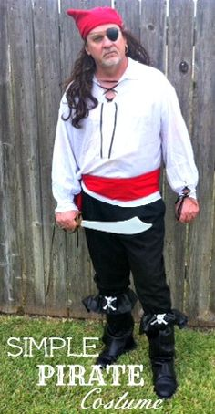 See my hot hubby is his DIY Homemade Pirate Halloween Costume for Men! LOL!