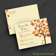 Save the Dates  Magnets or Cards  Autumn by PrettyWithInkInvites, $20.00