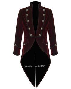 Mens Steampunk Tailcoat Jacket Red Velvet Goth VTG Victorian #RoyalSwag #Tailcoat