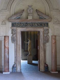 "doorway at the Altemps | Flickr - Photo Sharing!""Most of the museum is open to the outside air, and you have to get around by going through the various balconies and porticoes. Only where the statue is, on the other side of this door, is actually inside"""
