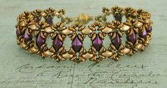 "BLUEBELL BRACELET   11/0 seed beads Toho ""Antique Bronze"" (223)  8/0 seed beads Toho ""Antique Bronze"" (223)  DiamonDuo beads ""Pastel Bord..."