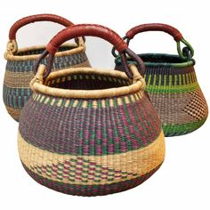 Africa | Bolga Basket,  Gambibgo Pot with goatskin handle. | Bolgatanga region of Northern Ghana.