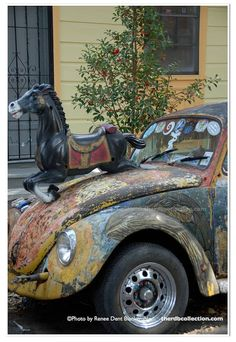 """Here's an """"only in New Orleans"""" photo so enjoy ... Art Car VW Bug Car Photo by Renee Dent Blankenship and found on  theRDBcollection, varying sizes available for 'Horse-Powered Car'"""