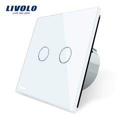 Livolo 2 Gang 1 Way Wall Touch Switch, White Crystal Glass Switch Panel, EU Standard,  220-250V,VL-C702-1/2/3/5  Price: 17.99 USD