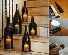 Elegant Diy Wine Bottle Hurricane Candle Lanterns