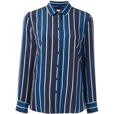 Equipment striped shirt ($315) ❤ liked on Polyvore featuring tops, blue, blue silk shirt, stripe shirt, colorful shirts, striped top and silk top