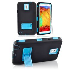 SAMSUNG GALAXY NOTE 3 CASE, TOUGH RUGGED HYBRID COVER WITH STAND (BLACK / BLUE) | #cellphonegadgets #mobileaccessories www.kuteckusa.com