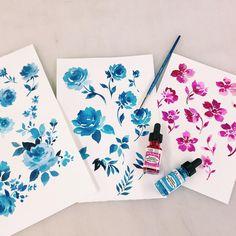 It's all about the florals   #florals #watercolor #paintingoftheday #drphmartins #textiledesign #printstudio #printfresh