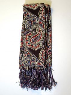Opera Neck Scarf Paisley Rayon w/ Silky Fringe 1940's Mens Neck Scarf 12 x 45 inches Self Lined Rockabilly Mad Men Suit Jacket Accessory https://www.etsy.com/listing/274733210/opera-neck-scarf-paisley-rayon...