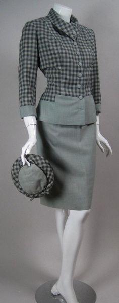 Vintage 1940s FITTED SKIRT SUIT Paris France Lesur Designer Couture Plaid Check…