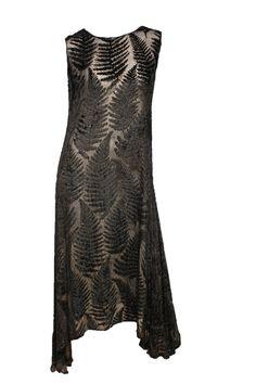 1920's Velvet Burnout Dress with black and gold leaf motifs