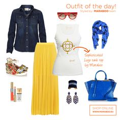 Maraboo by D.Gean proposes for today's look maxi yellow pleated skirt combined with the white tank top from Maraboo's summer collection. Yellow Pleated Skirt, White Skirts, Floral Wedges, Blue Wedges, Blue Bags, White Tank, Summer Collection, Casual Chic, Outfit Of The Day