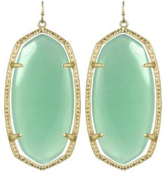 Kendra Scott Signature Danielle Drop Earrings Chalcedony 14k Gold Plated Kendra Scott. $60.00. Measurements: Approximate.  Earring hang is 2.50 inches by 1 inch at their widest. 14k Gold Plated over Brass. Base stone: Chalcedony. Closure Type:  Ear Wire Closures. Comes with its signature Kendra Scott fabric bag